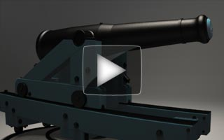 Video of a 32pdr Seacoast gun naming and highlighting the different parts