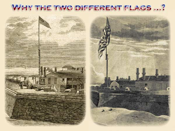Side by side comparisson of a post flag and a garrison flag, both from vintage Fort Moultrie images