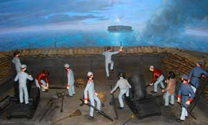 Modern diorama featuring two M.1841 10-inch seacoast mortar models, depicting the initial shot which opening began the general bombardment of Fort Sumter at dawn on April 12, 1861. (Fort Sumter Museum, National Park Service)