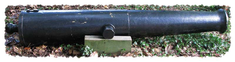 One of Fort McRee's original 24-pounder guns, with the distinctive flat breech and flared muzzle of all M.1819 models, this particular one cast at the Fort Pitt Foundry in February 1837. (John Morris)