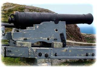 Early 19th-Century British naval 32-pounder guns atop Signal Hill, overlooking the harbor-entrance to Saint John's, Newfoundland. (Parks Canada)