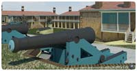 Computer-graphic depiction of an 8-inch Columbiad at Fort Moultrie's Southeast Angle, with its painted tompion — complete with hand-ring — inserted into its bore. (Battlefields in Motion, Ltd)