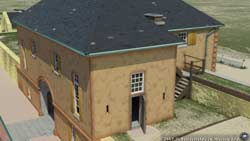 Computer-graphic recreation of Fort Moultrie's peacetime Guardhouse, ca. May 1860. (Battlefields in Motion, Ltd)