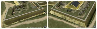 "Fort Moultrie's ""full"" northeastern bastion, whose solid ramparts were thicker and more solid, thus stronger than the ""hollow"" or ""empty"" northwestern demi-bastion, whose thinner ramparts had to encircle its lower-level Magazine"