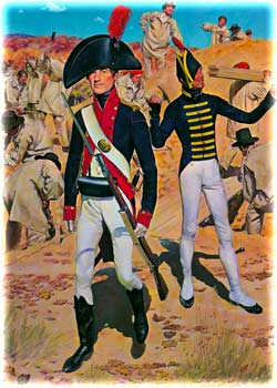 "Modern depiction by H. Charles McBarron, Jr., of an ""Artillery cadet"" carrying a musket at West Point, ca. 1805, with a private of Engineers directing the labors of enlisted personnel in the background, who are clad in their gray-colored work-clothes or fatigues. (The American Soldier)"