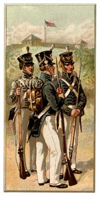 Idealized depiction of U.S. Army uniforms from the War of 1812, as painted decades later by Henry A. Ogden