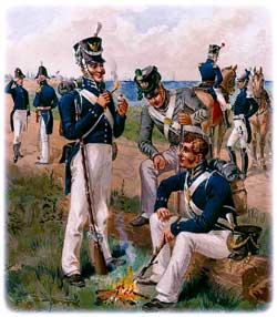 U.S. Army uniforms for 1813-1821, as depicted decades afterward by Henry A. Ogden. An Artillery officer and subaltern can be seen at left, with a coastal fortress behind them in the background, while two Infantry privates share a beachside fire with a gray-clad Rifleman at center. (Uniform of the Army of the United States)