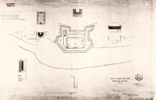 Reconstructed Fort Moultrie in 1842, as Sherman would have known it; diagram by Captain Bowman, U.S. Corps of Engineers