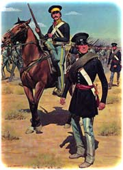 Idealized modern painting of U.S. cavalry and infantry field-uniforms during the Mexican-American War, 1845-1848, by H. Charles McBarron, Jr. (The American Soldier)