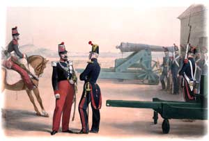 Blue-uniformed French artillerymen falling in beside their 24-pounder guns in a harbor-fort, as sketched by Eugene Charpentier, ca. 1846; note the standardized design of their barbette-carriages. (Anne S. K. Brown Military Collection)