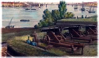 32-pounders in the Northwest Angle of Fort Columbus on Governors Island, ca. 1846, overlooking the half-mile expanse to the southern shore of Manhattan Island and New York City. These guns are recognizable as older-vintage models, because of the double-bands plainly visible encircling their reinforces. (Aquatint by Louis Augier)