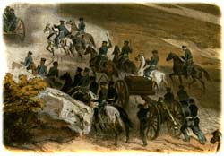 "U.S. ""flying artillery"" guns being deployed into action across the dusty desert terrain at the Battle of Buena Vista, February 23, 1847. (Carl Nebel)"