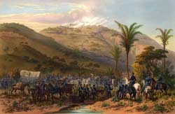 American forces circling around Santa Anna's entrenched positions at the Battle of Cerro Gordo on April 17-18, 1847, an engagement during which the 24-year-old Ripley won promotion to brevet Captain. (Carl Nebel)