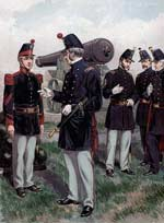 "U.S. Artillery Colonel addressing a noncom at left — a First Sergeant of Company E, 2nd Artillery — both wearing their 1858 uniforms, complete with older-style ""Albert"" forage-caps, as depicted 30 years later by Henry A. Ogden"