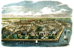 Bird's eye-view of the City of Charleston, South Carolina, published in June 1853. (Barnum's Illustrated News)