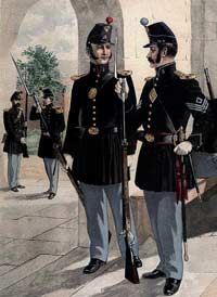 A U.S. Artillery Colonel being saluted at a fort's entrance, while another cannoneer talks inside its guardhouse with an infantry sergeant, as depicted by Henry A. Ogden; the 1858-model forage caps and uniforms would undergo changes this same year