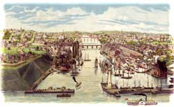 Bird's eye-view looking south-southeastward over Oswego, N.Y., in 1855 by Lewis Bradley, showing the port-city's reconstructed grain-elevators at center-left. Two years earlier, Barnard had photographed their conflagration from the western banks at right. (Library of Congress)