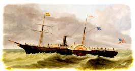 "The passenger steam-packet ""Isabel"" of Charleston, South Carolina, as depicted in an oil painting, ca. 1855. The Spanish flag flying from its foremast would indicate that it was bound toward Cuba, at that time still a Spanish colony. (Joseph B. Smith & Son, Brooklyn)"