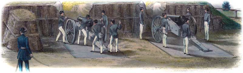 Five-man cadet gun-crews training with ordnance mounted on siege-carriages at West Point, ca. 1859. Note the four cannoneers and gunner standing correctly at attention beside their piece at right, while their adjoining colleagues go through various evolutions at left. (Anne S. K. Brown Military Collection)