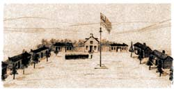 The lonely frontier outpost of Fort Randall in the Dakota Territory, as sketched in July 1860 by William Jacob Hays. (Kansas Historical Society)