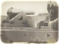 Two of Fort Moultrie's new 8-inch Columbiads, photographed several months after being successfully mounted in mid-November 1859. (Osborn & Durbec)
