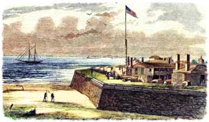 Depiction of antebellum Fort Moultrie during the summer of 1860; a woodcut engraving based upon a photograph, taken from atop its nearby harbor-beacon. (Frank Leslie's Illustrated Weekly)