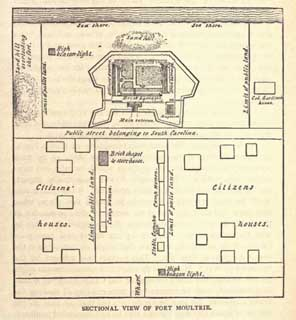Doctor Crawford`s diagram of peacetime Fort Moultrie in September 1860, published sixteen years afterward in his Genesis of the Civil War