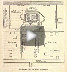 CG animation of antebellum Fort Moultrie and its U.S. Army Reservation, based upon Crawford's diagram of how they appeared in September 1860, and published more than a quarter-century later in his memoirs. (Genesis of the Civil War)