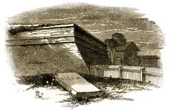 Osceola's grave, Fort Moultrie's Northwest demi-bastion, and Colonel Gardner's home in Moultrieville, all peacefully overgrown during the antebellum period prior to the Civil War. (Harper's Weekly)