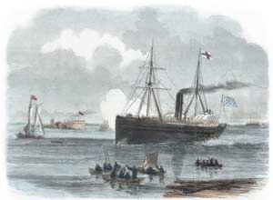 "The steamer Columbia passing Castle Pinckney and approaching Charleston's waterfront on November 19, 1860, with a new South Carolinian flag fluttering from its ""mast of honor"" in the stern. (New York Illustrated News)"