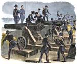 Imagined scene by Leslie's Illustrated News of Capt. John Foster's rearguard spiking Moultrie's guns by hammering nails into their vents, and preparing to burn their carriages early on the morning of December 27, 1860; too many soldiers are shown, most incongruously wearing full-ceremonial dress uniforms