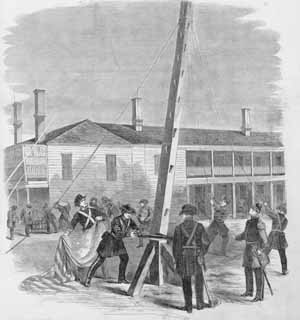 1860 Felling Moultrie's Flagstaff by Leslie's