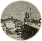 Small woodcut showing Moultrie's newly-dug defensive ditch in December 1860, with planks being laid at right so as to complete its counterscarp, topped by a narrow covered-way and glacis. The harbor beacon, semaphore tower, and civilian buildings were all several hundred yards in the distance