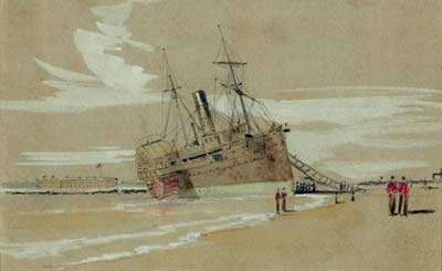 The steamer Columbia aground on Sullivan's Island, as sketched by the visiting correspondent William Waud on January 27, 1861; Fort Sumter appears at left, and the low silhouette of Fort Moultrie at right