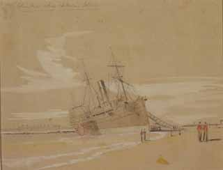 1861 Steamer Columbia Aground Sketch by Will Waud