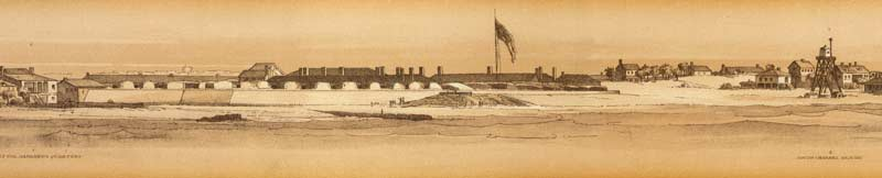 View of Fort Moultrie and its surrounding civilian dwellings, as sketched by U.S. Army Capt. Truman Seymour from a mile away atop Sumter's ramparts on February 13, 1861; the new embrasures which were being created by erecting merlons out of sandbags within palmetto-log cribs, were plainly visible even at that distance. (Official Military Atlas of the Civil War)