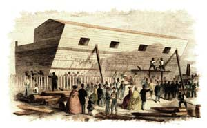 "Hand-tinted offprint of Waud's drawing of the Floating Battery under construction in Charleston, published on Page 260 of the March 16, 1861 edition of ""Leslie's Illustrated Newspaper"". (Library of Congress)"
