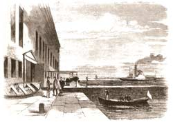 Lincoln's emissary, Col. Ward H. Lamon and his Confederate escort Colonel Duryea, being greeted at Sumter's sally-port by Major Anderson on the afternoon of March 25, 1861; the steamer Planter can be seen at right, unable to approach any closer to the wharf because of low tide. (Frank Leslie's Illustrated Newspaper)