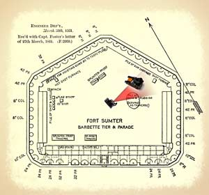 Diorama depicting the relative positions of Cook's camera and lone 10-inch mortar inside Sumter's compound on September 8, 1863, superimposed over Captain Foster's pre-war diagram of the fort. (Battlefields in Motion, Ltd.)