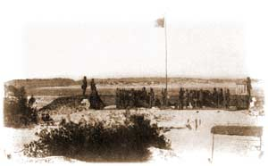 Washington Light Infantry battery at the east end of Sullivan's Island, pointed across Breach Inlet toward Isle of Palms, as it appeared in late March or early April 1861. (Miller & Lanier, Photographic History, Volume 3)
