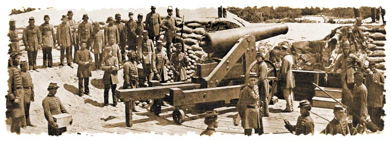 "Single gun-crew and numerous additional volunteers, all identified as members of ""Ben Bullard's Rifles"" or Company B of the 10th Mississippi Infantry Regiment, posing around yet another barbette-mounted M.1829 32-pounder installed in a ""sand battery"" overlooking the entrance into Pensacola Bay, in late April or early May 1861. Note the bugler standing beside the officer at lower right. (J.D. Edwards)"