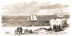 The small merchant schooner Shannon being fired upon by the Morris Island batteries, while running up the Main Ship-Channel on the windy afternoon of April 3, 1861. (Frank Leslie's Illustrated Newspaper)