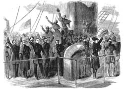 "Major Anderson, with his officers and men, being cheered as they arrive at New York City aboard the ""Baltic"" on April 18, 1861. (New York Illustrated News)"