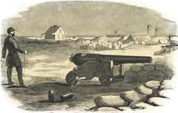"Woodcut of the small yet ""remarkable [Blakely] rifled cannon,"" as sketched shortly after the April 1861 bombardment of Fort Sumter; note the officer posing as if about to tug on its lanyard. (Harper's Weekly)"