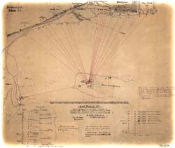 "Hand-drawn map submitted to Washington, D.C., from Fort Pickens by the Union engineer Lt. Walter McFarland on June 10, 1861, indicating the estimated positions of Confederate artillery around the shores of Pensacola Bay. The ""sand batteries"" are believed to have been at the upper left-hand corner of this chart. (U.S. National Archives)"