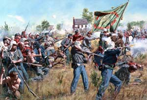 "New York's bravest"": a modern print by Don Troiani depicting the 69th fighting to recuperate its regimental flag at the First Battle of Bull Run, aided by the 11th New York Fire Zouaves. (Don Troiani)"