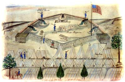 "Pen-and-ink drawing with water-colored highlights, showing Fort Woodbury as it appeared upon completion in September 1861;  note how its compound enclosed five widely-spaced guns, two buried magazines, a well, and a ""tool house,"" while the 1,300-man 4th Michigan Regiment remained encamped in tents outside its perimeter. (Lenawee County Historical Museum, Adrian, Michigan)"