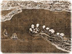 "Crude drawing of the Union bombardments of Pensacola's defenses on November 22-23, 1861. The warships ""Niagara"" and ""Richmond"" are shown at left, closing in on Fort McRee directly above, on its jutting spit of land. (Harper's Pictorial History of the Civil War)"