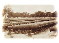 "Hundreds of M.1819 24-pounders stockpiled on racks in the Federal gun-yard at Fortress Monroe, Virginia, prior to the Civil War. Note this early version's characteristically flat breech-bases, and flared muzzle-swells. (George Stacy, ""Stereoscopic Views of America"")"