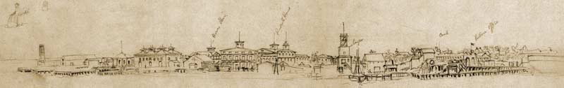 Will Waud's sketch of the U.S. naval installation at Key West, Florida, with an additional view of Fort Taylor in its upper right-hand corner, ca. March 1862. These drawings were once erroneously attributed to his older brother, Alf Waud. (Library of Congress)